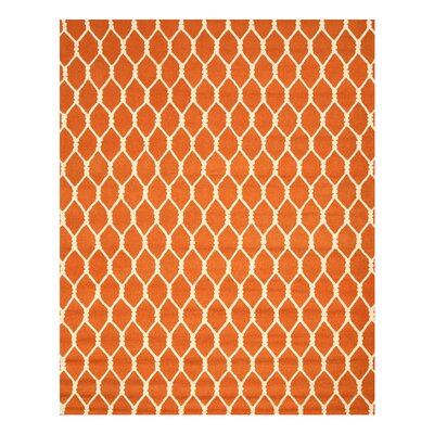 Hand-Tufted Orange Area Rug Rug Size: Rectangle 89 x 119