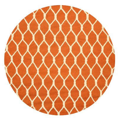 Hand-Tufted Orange Area Rug Rug Size: Round 4