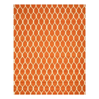 Hand-Tufted Orange Area Rug Rug Size: Rectangle 79 x 99