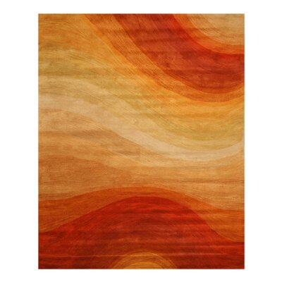 Hand-Tufted Orange Area Rug Rug Size: Rectangle 4 x 6