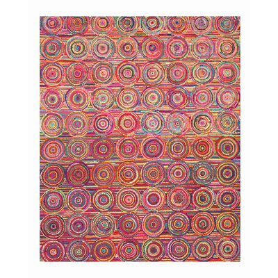 Hand-Tufted Pink / Yellow Area Rug Rug Size: 5 x 8