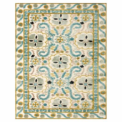 Beige / Blue Area Rug Rug Size: Rectangle 53 x 76