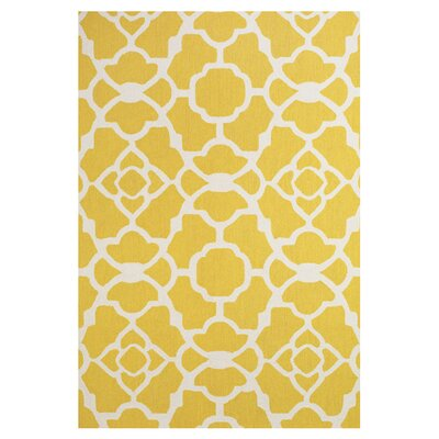Hand-Tufted Yellow / White Area Rug Rug Size: 36 x 56