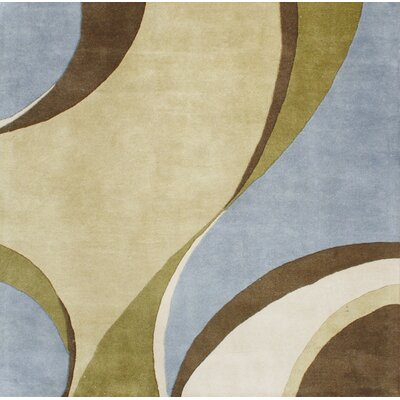 Hand-Tufted Blue / Beige Area Rug Rug Size: Square 6