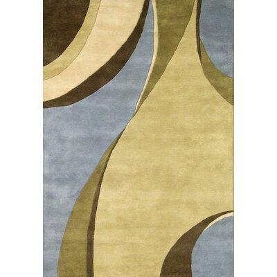 Hand-Tufted Blue / Beige Area Rug Rug Size: 5 x 8