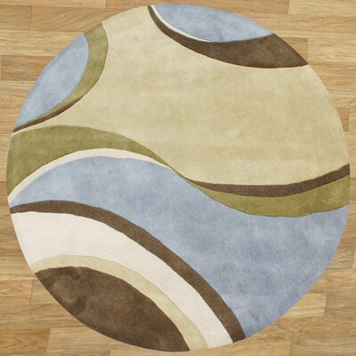 Hand-Tufted Blue / Beige Area Rug Rug Size: Round 6