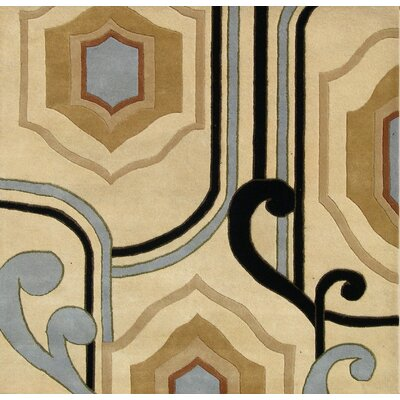 Hand-Tufted Beige Area Rug Rug Size: Square 6