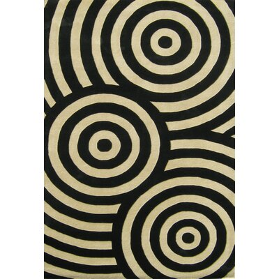 Hand-Tufted Black / Beige Area Rug Rug Size: 5 x 8