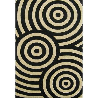 Hand-Tufted Black / Beige Area Rug Rug Size: 5 x 8