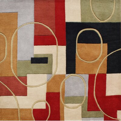 Hand-Tufted Red / Brown Area Rug Rug Size: Square 6