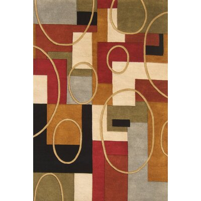 Hand-Tufted Red / Brown Area Rug Rug Size: Rectangle 5 x 8