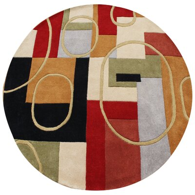Hand-Tufted Red / Brown Area Rug Rug Size: Round 6