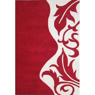 Hand-Tufted Red Area Rug Rug Size: Rectangle 4 x 6