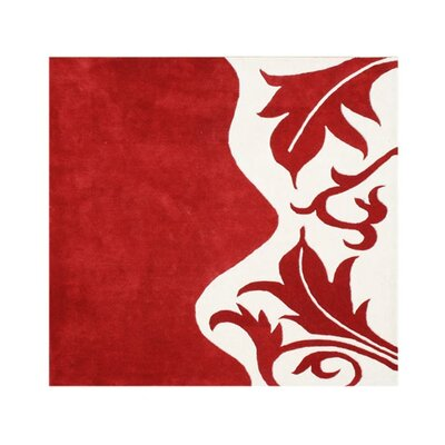 Hand-Tufted Red Area Rug Rug Size: Square 6