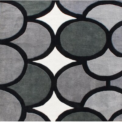 Hand-Tufted Gray Area Rug Rug Size: Square 6