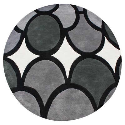 Hand-Tufted Gray Area Rug Rug Size: Round 6
