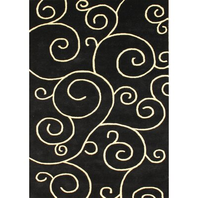 Hand-Woven Black Area Rug Rug Size: Rectangle 5 x 8