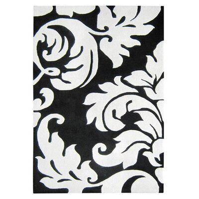 Hand-Tufted Black/White Area Rug Rug Size: Rectangle 8' x 10'