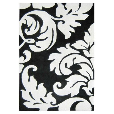Hand-Tufted Black/White Area Rug Rug Size: 4 x 6