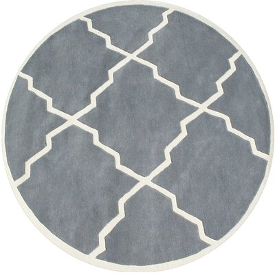 Milwaukie Hand-Tufted Gray Area Rug Rug Size: Round 6