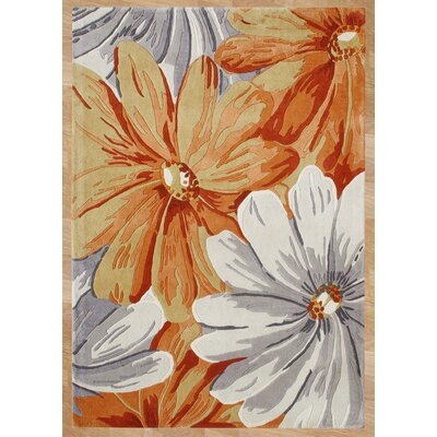 Hand-Tufted Orange/Gray Area Rug Rug Size: 8 x 10