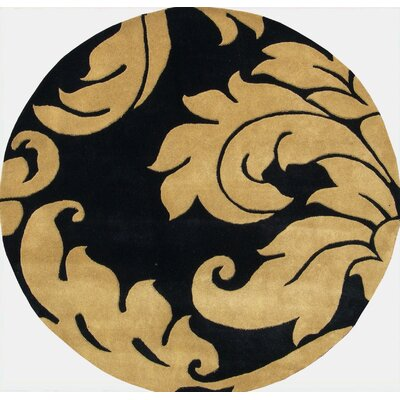 Hand-Tufted Brown/Black Area Rug Rug Size: Round 6