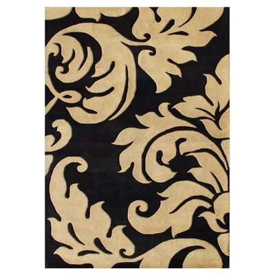 Hand-Tufted Brown/Black Area Rug Rug Size: Rectangle 4 x 6