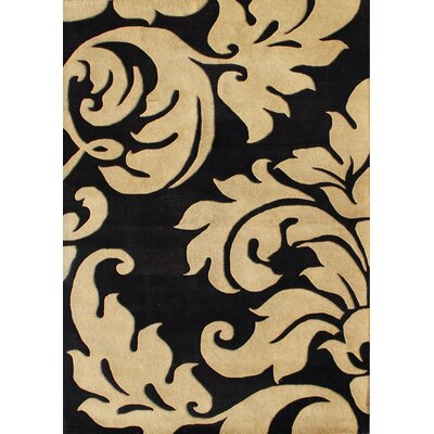 Hand-Tufted Brown/Black Area Rug Rug Size: Rectangle 5 x 8