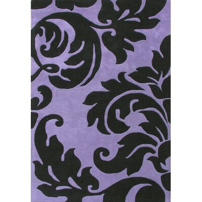 Hand-Tufted Purple/Black Area Rug Rug Size: Rectangle 4 x 6