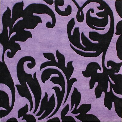 Hand-Tufted Purple/Black Area Rug Rug Size: Square 6