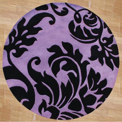 Hand-Tufted Purple/Black Area Rug Rug Size: Round 6