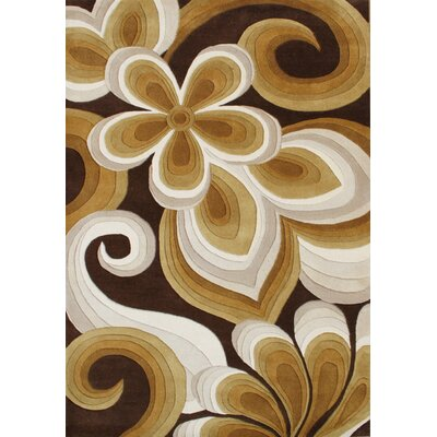 Hand-Tufted Brown/ Ivory Area Rug Rug Size: 5 x 8