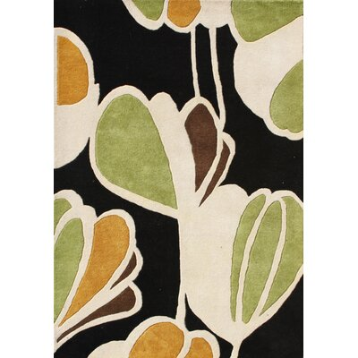 Hand-Tufted Black/Green Area Rug Rug Size: Square 6