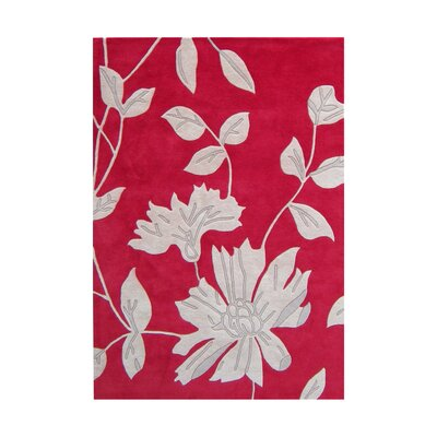 Hand-Tufted Red Area Rug Rug Size: 8' x 10'
