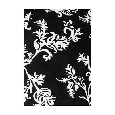 Hand-Tufted Black/White Area Rug Rug Size: 5 x 8