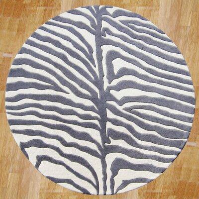 Nesika Hand-Tufted Gray/Ivory Area Rug Rug Size: Round 6