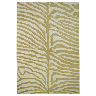 Hand-Tufted Green/Ivory Area Rug Rug Size: Rectangle 4 x 6