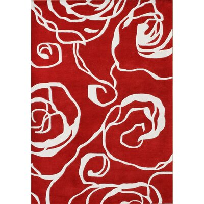 Nonpareil Hand-Tufted Red Area Rug Rug Size: 5 x 8