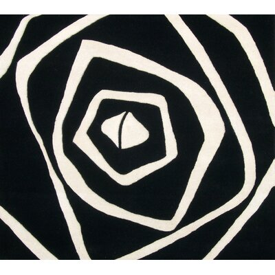 Nortons Hand-Tufted Black/White Area Rug Rug Size: Square 6
