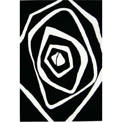 Nortons Hand-Tufted Black/White Area Rug Rug Size: Rectangle 5 x 8
