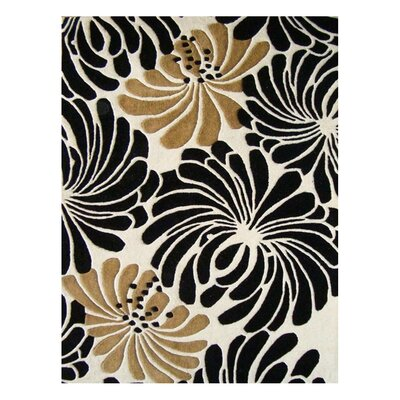 Norwood Hand-Tufted Beige/Black Area Rug Rug Size: Rectangle 4 x 6
