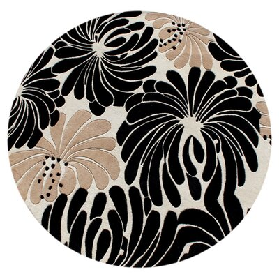 Norwood Hand-Tufted Beige/Black Area Rug Rug Size: Round 6