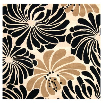 Norwood Hand-Tufted Beige/Black Area Rug Rug Size: Square 6