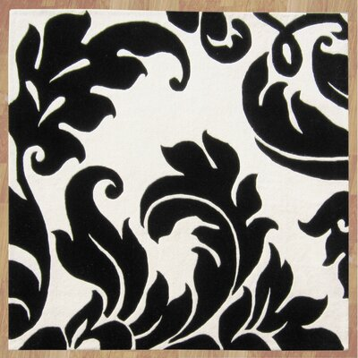 Noti Hand-Tufted Black & Ivory Area Rug Rug Size: Square 6