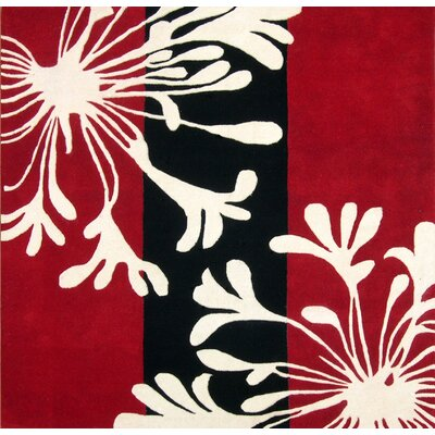 Oak Hand-Tufted Red Area Rug Rug Size: Square 6