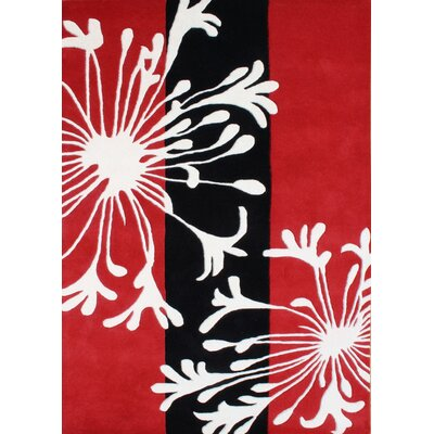 Oak Hand-Tufted Red Area Rug Rug Size: Rectangle 5 x 8