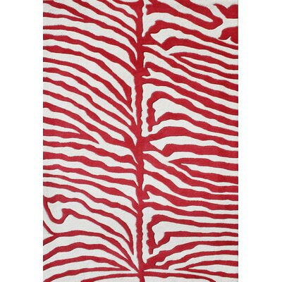 OBrien Hand-Tufted Red/White Area Rug Rug Size: Rectangle 5 x 8