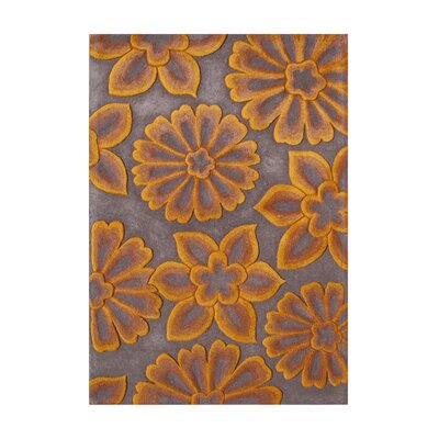 Olene Hand-Tufted Grey/Orange Area Rug Rug Size: 5 x 8