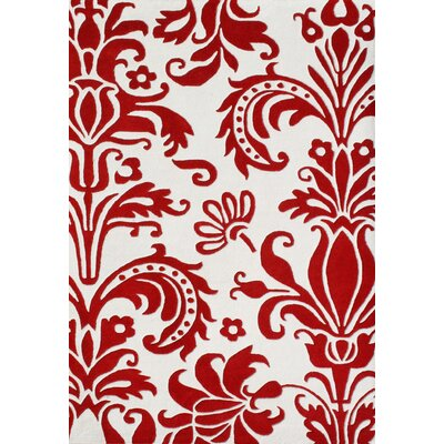 Olney Hand-Tufted White/Red Area Rug Rug Size: 5 x 8