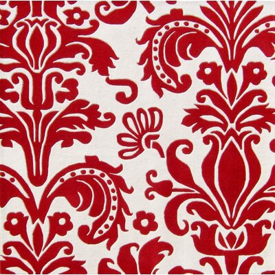 Olney Hand-Tufted White/Red Area Rug Rug Size: Square 6